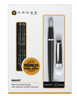 Cross  Bailey Black Lacquer Fountain Pen Med Pt & 6 Cartridges  AT0456H-7MS New