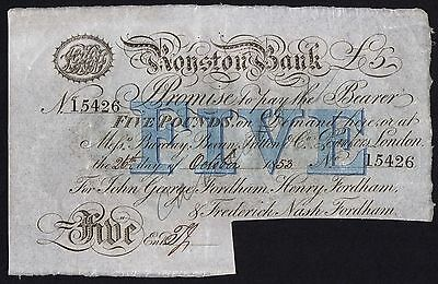 1853 ROYSTON BANK £5 BANKNOTE * 15426 * aEF * Outing 1835d *