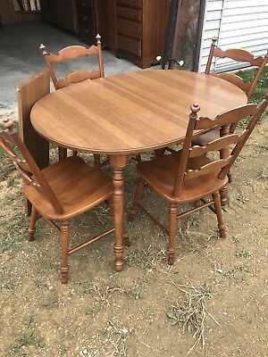 Tell City Vtg Maple Table & 4 Chairs & Leaf Estate Find