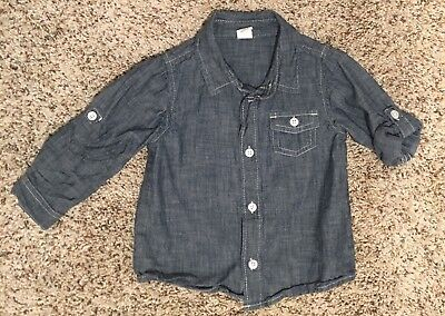 Boys Blue Button Up Denim Chambray Shirt Old Navy Size 18-24 Months