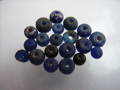 20 Ancient Roman Blue Glass Beads Romans VERY RARE!  TOP !!