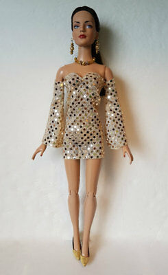 Tonner SYDNEY Tyler etc Doll Clothes Gold DRESS & JEWELRY Fashion NO DOLL d4e