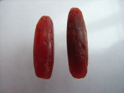 2 Ancient Neolithic Carnelian, Red Jasper Ear Plugs, Stone Age, VERY RARE !!