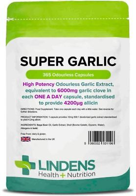 Super Garlic 6000mg 365 Capsules Lindens Health + Nutrition (1196)