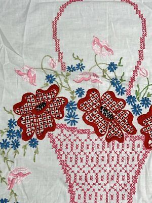 Cottage c 1930s Flower Basket QUILT Top Coverlet Vintage