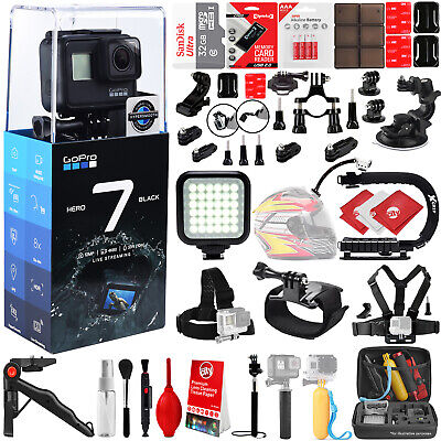 GoPro HERO7 Black 4K 12MP Digital Camcorder w/ 32GB - 40PC Sports Action Bundle