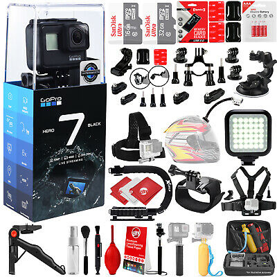 GoPro HERO7 Black 4K 12MP Digital Camcorder w/ 48GB - 40PC Sports Action Bundle