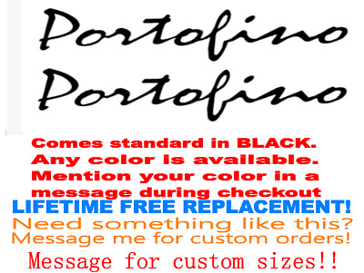 """PAIR OF 3.25/"""" X 10/"""" PORTOFINO BOAT HULL DECALS MARINE GRADE YOUR COLOR CHOICE"""