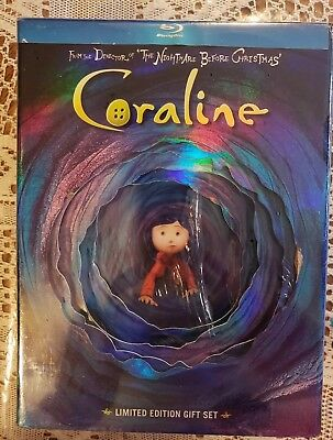 Coraline Limited Ed.gift Set (Blu-Ray) (2009) 2D/3D - New &  Factory Sealed Read
