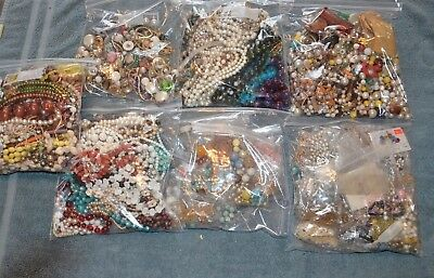 Huge vintage estate lot of costume jewelry and jewelry making supplies 20 lbs.