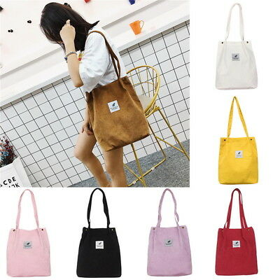 UK Women Durable Canvas Tote Large Capacity Handbag Corduroy Casual Shoulder Bag