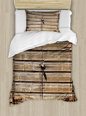 Ambesonne Rustic Old Wooden Aged Barn Door with Padlock Duvet Cover Set