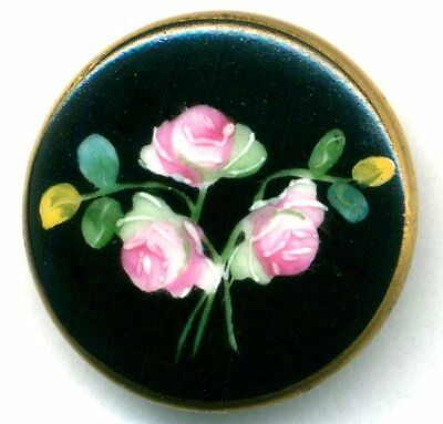 Stunning Large Antique Button…Hand Painted Porcelain Pink Roses