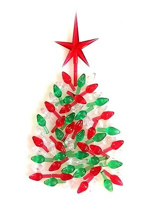 50 Red Green Clear SMALL TWIST BULBS Ceramic Christmas Tree Lights + RED STAR