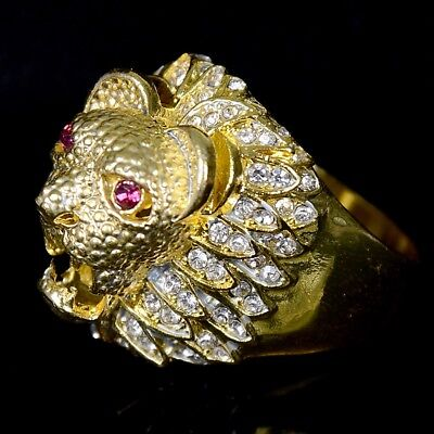 Men Retro Gold Lion Head Ring Stainless Steel Finger Ring Punk Jewelry Size 6-12