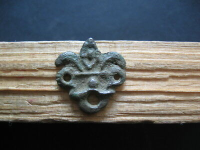 2 DRAGON HEADS AMULET ANCIENT CELTIC BRONZE OPENWORK TALISMAN 500-200 B.C. 20 mm