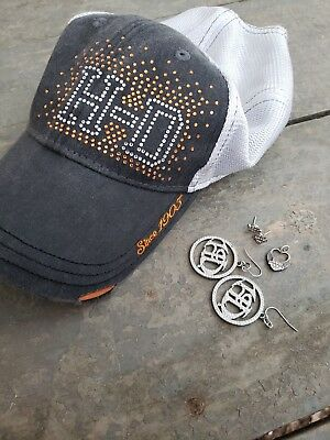 Harley Davidson Hat And Earrings