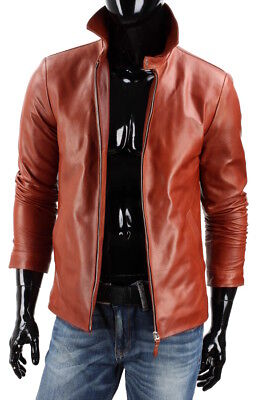 Winter Premium High Quality Smooth Lambskin Biker Leather Jacket For Men MJ126