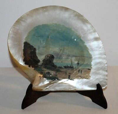 19th C. Philippine Marine Scene Oil Painting Mother of Pearl Shell Signed Mare