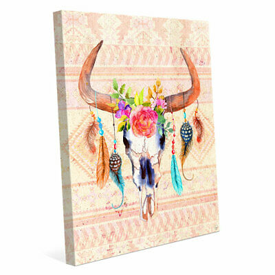 Click Wall Art Cattle Crown Painting Print on Wrapped Canvas