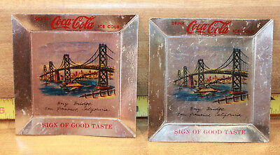 "2 Vintage Coca Cola 1950's Foil Coaster...""Sign of Good Taste"""
