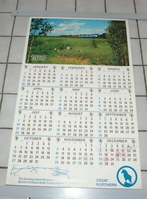 Large 1968 Great Northern Railroad Calendar Iron Ore Docks Train from Superior