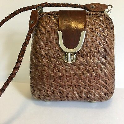 Vintage Wicker Rattan Woven  Leather Clam Shell Bag Purse Braided Strap  Footed