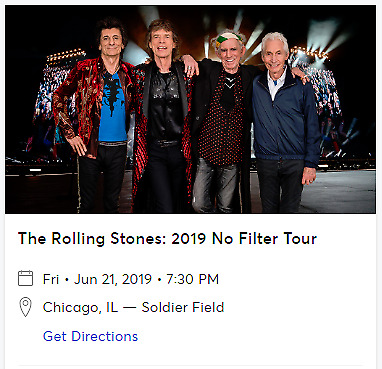 Rolling Stones GA Field Tickets Soldier Field Chicago, IL 6/21/19