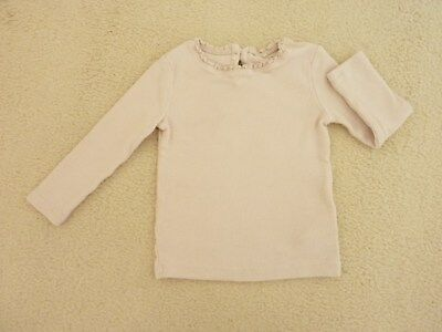 Baby Girls Top Age 9-12 Months Next In Dusky Pink Ribbed Design Frilled Neck