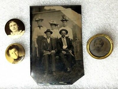 Antique Vintage Metal Tin Round Button Man Woman Picture Photograph Pin Holland