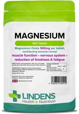Magnesium Tablets (MgO 500mg) 500 Tablets Lindens Health + Nutrition (0410)