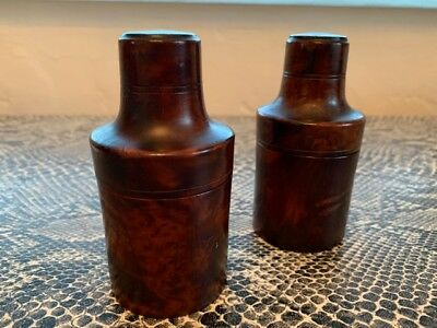 antique vintage LOUIS VUITTON pair of wood SNUFF BOTTLE containers boxes, RARE