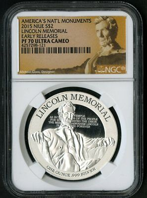 Niue Silver Coin 2015 $2 Lincoln Memorial NGC Proof 70 UC NO RESERVE