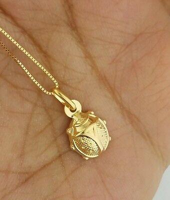 Solid 10K Yellow Gold Ladybug Charm Pendant for Necklace Chain