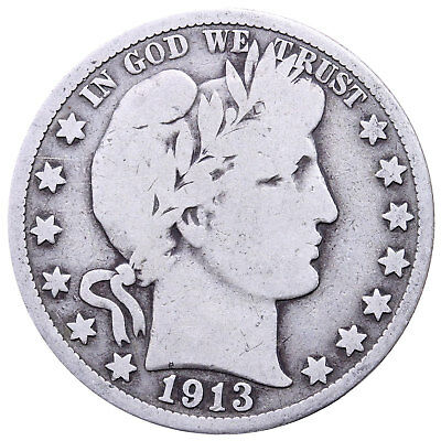 1913 S Barber Half Dollar 90% Silver Very Good
