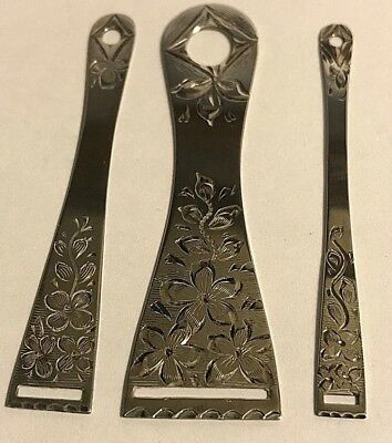 Antique  Sterling Silver Sewing Paye & Baker Co. Flowers Set (3) Bodkins #376