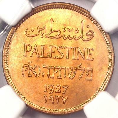 1927 Palestine Mil (1M) - NGC MS65 RB - Rare BU UNC Certified Coin!