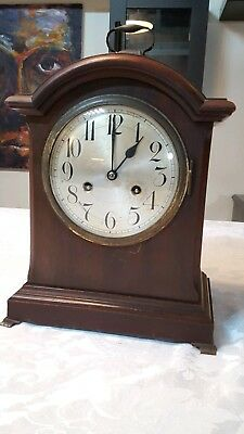 Antique German Junghans  8 Day Mahogany Striking Bracket Clock