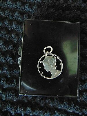 Delicate Cut Out 1940 Mercury Head Liberty Dime Pendant Vintage 40s
