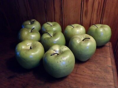 Lot of 9 Vintage Life Size Faux Granny Smith Decorative Apples Realistic Plastic