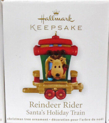 HALLMARK 2011 REINDEER RIDER Miniature Santas Holiday Train  Ornament NEW