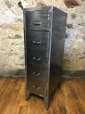 Vintage Industrial Stripped Metal 5 Drawer  Filing Cabinet Free Delivery