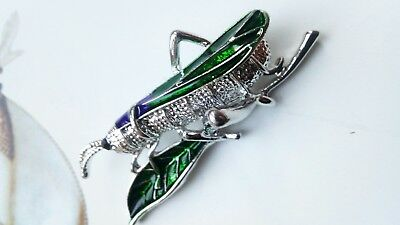 A119 Art Deco Vintage silver plated green purple enamel grasshopper bug Brooch