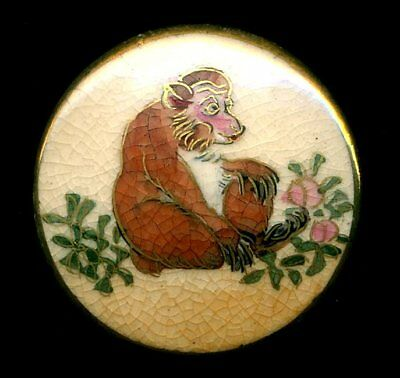Vintage Japanese Satsuma Porcelain Button…Monkey…Baboon