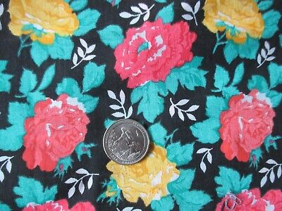 ROMANTIC Vintage PINK YELLOW FLOWERS On BLACK 1970's COTTON Fabric-over 1 yd