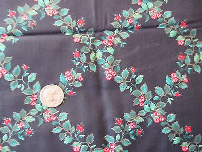 EXQUISITE Vintage RED TRELLIS FLOWERS On BLACK 1980's COTTON Fabric-over 1 yd