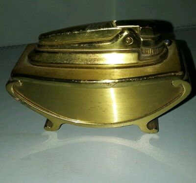 Vintage Ronson Brass Table Top Lighter Varaflame 1960's Smoking Cigarettes Cigar