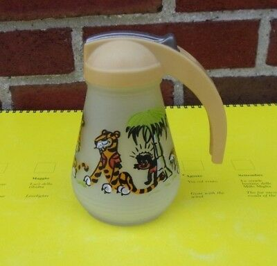 Vintage Frosted Sambo's Restaurant Syrup Pitcher by Hazel Atlas
