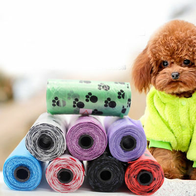 1/5Roll Pet Dog Waste Poop Bag With Paw Printing Doggy Bag Picking Eco-Friendly