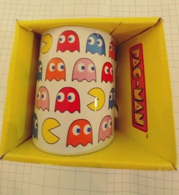 New Pac Man Arcade Game White Ceramic Coffee Mug Cup New in Box